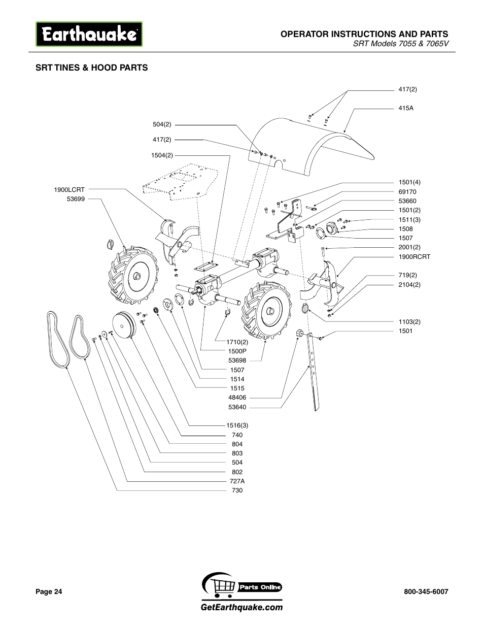 Operator instructions and parts, Srt tines & hood parts