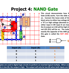 project 4 nand gate aq b ab q elenco understanding logic gates and circuits user manual page 11 42 [ 1235 x 954 Pixel ]