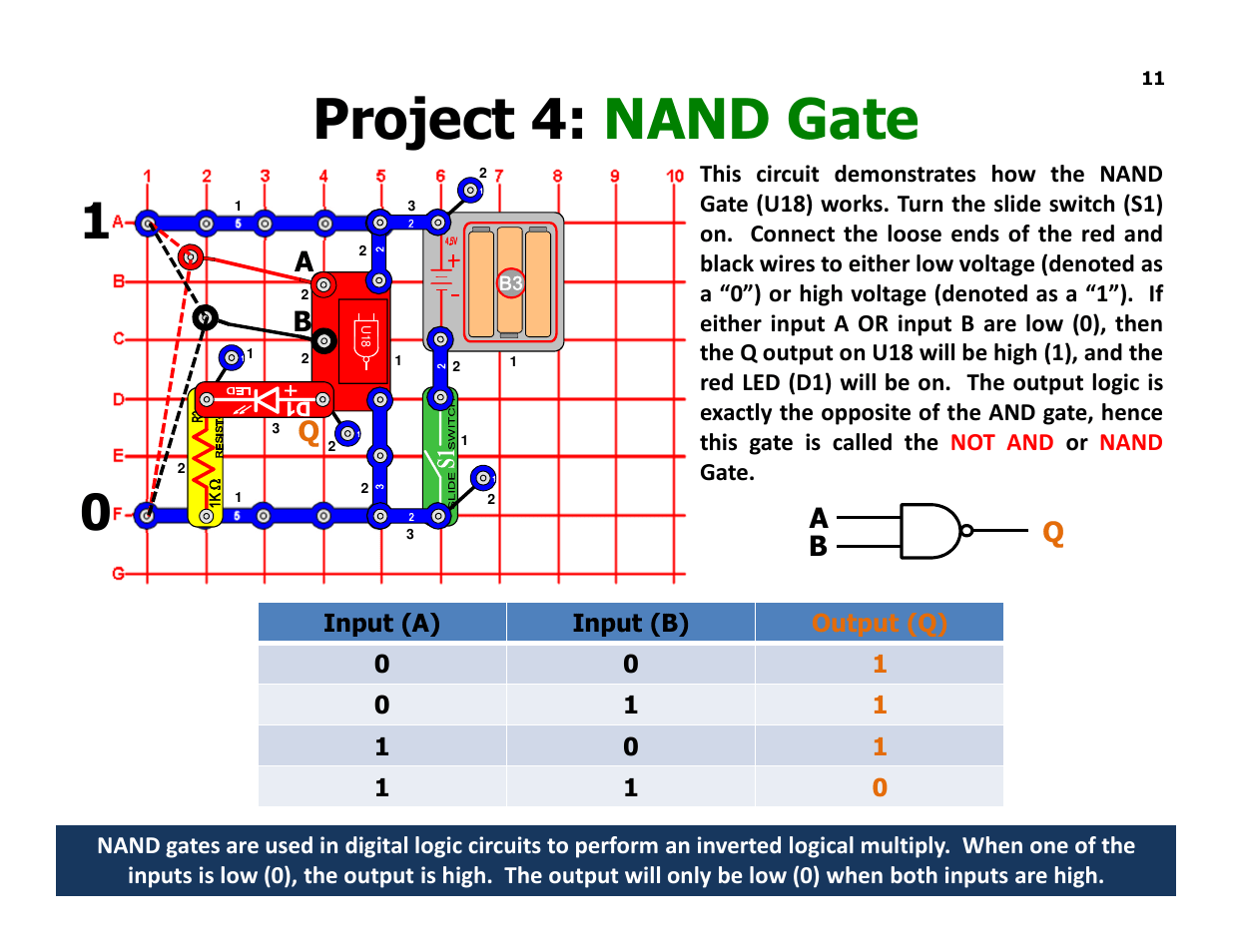 hight resolution of project 4 nand gate aq b ab q elenco understanding logic gates and circuits user manual page 11 42