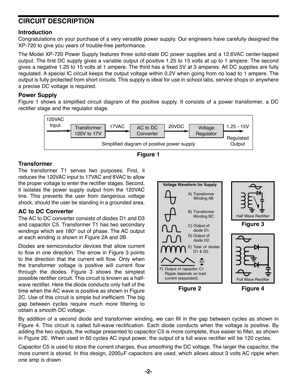 hight resolution of circuit description elenco triple supply w 12 6vac ct 1a user manual page 3 8