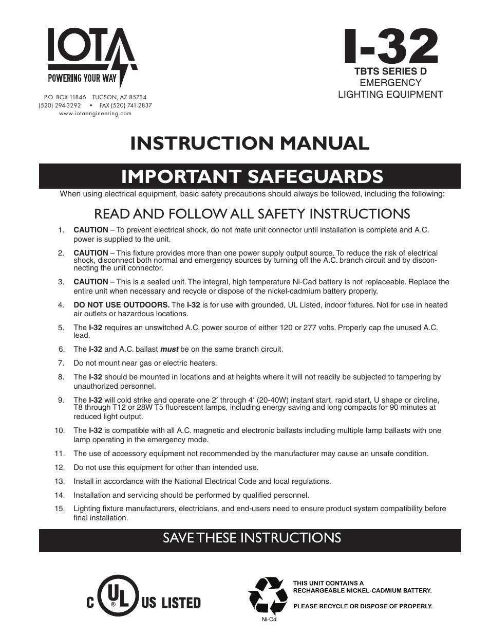iota i32 emergency ballast wiring diagram mitsubishi pajero ecu i 32 user manual 4 pages