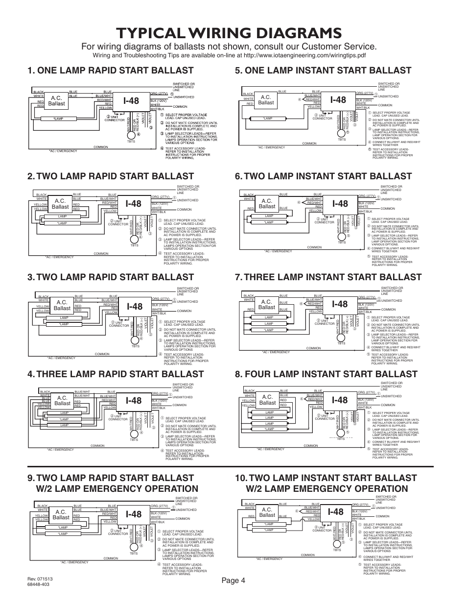 hight resolution of typical wiring diagrams i 48 page 4 a c ballast iota i