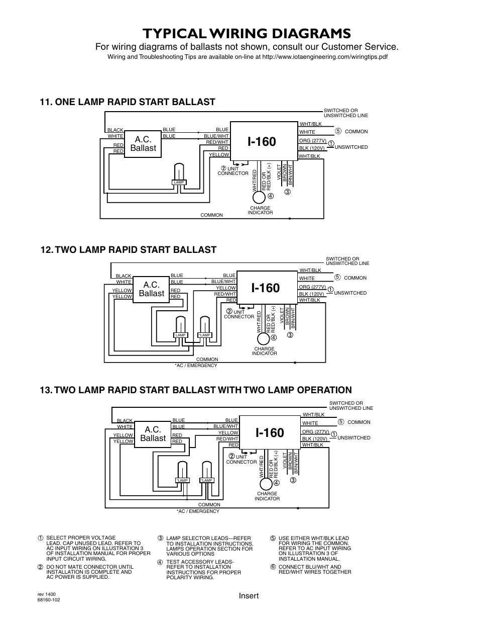 medium resolution of typical wiring diagrams i 160 a c ballast iota i 160 user manual page 5 5