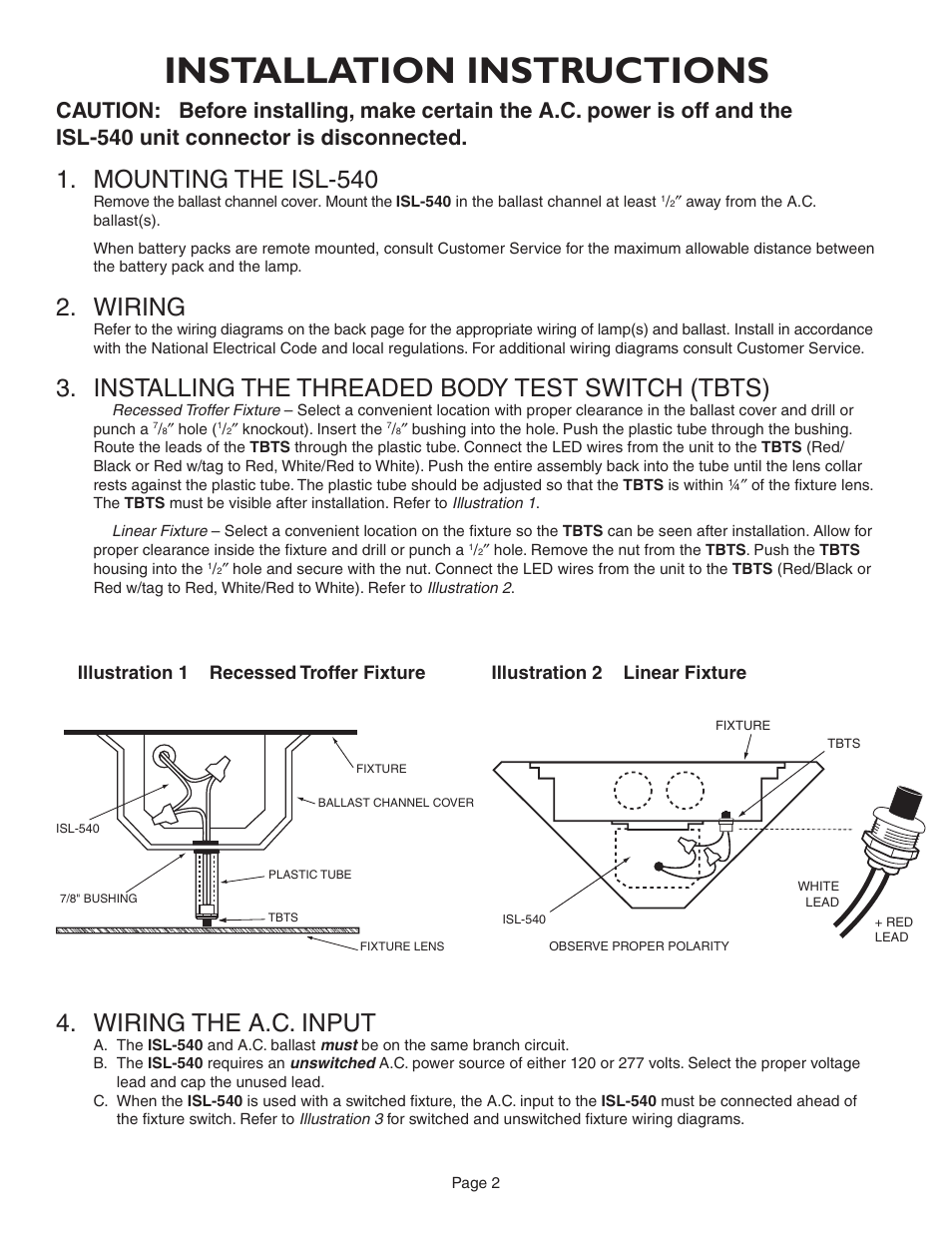 medium resolution of installation instructions mounting the isl 540 wiring iota isl 540 35w user manual page 2 5
