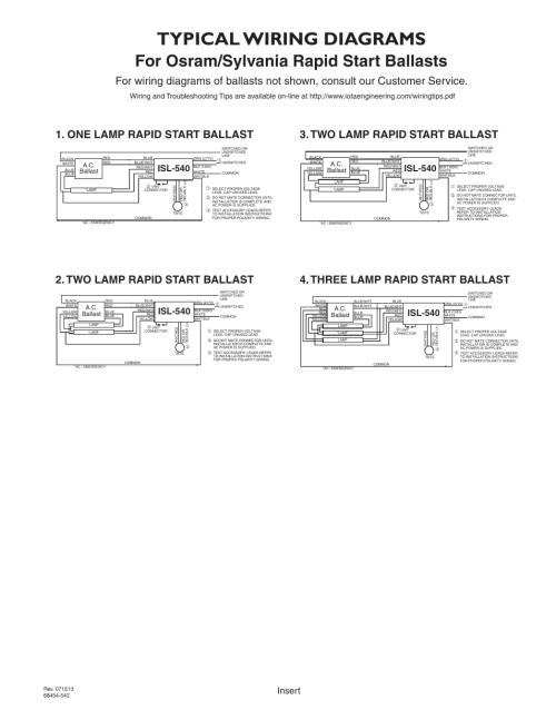 small resolution of typical wiring diagrams for osram sylvania rapid start ballasts isl 540 ballast wiring diagram