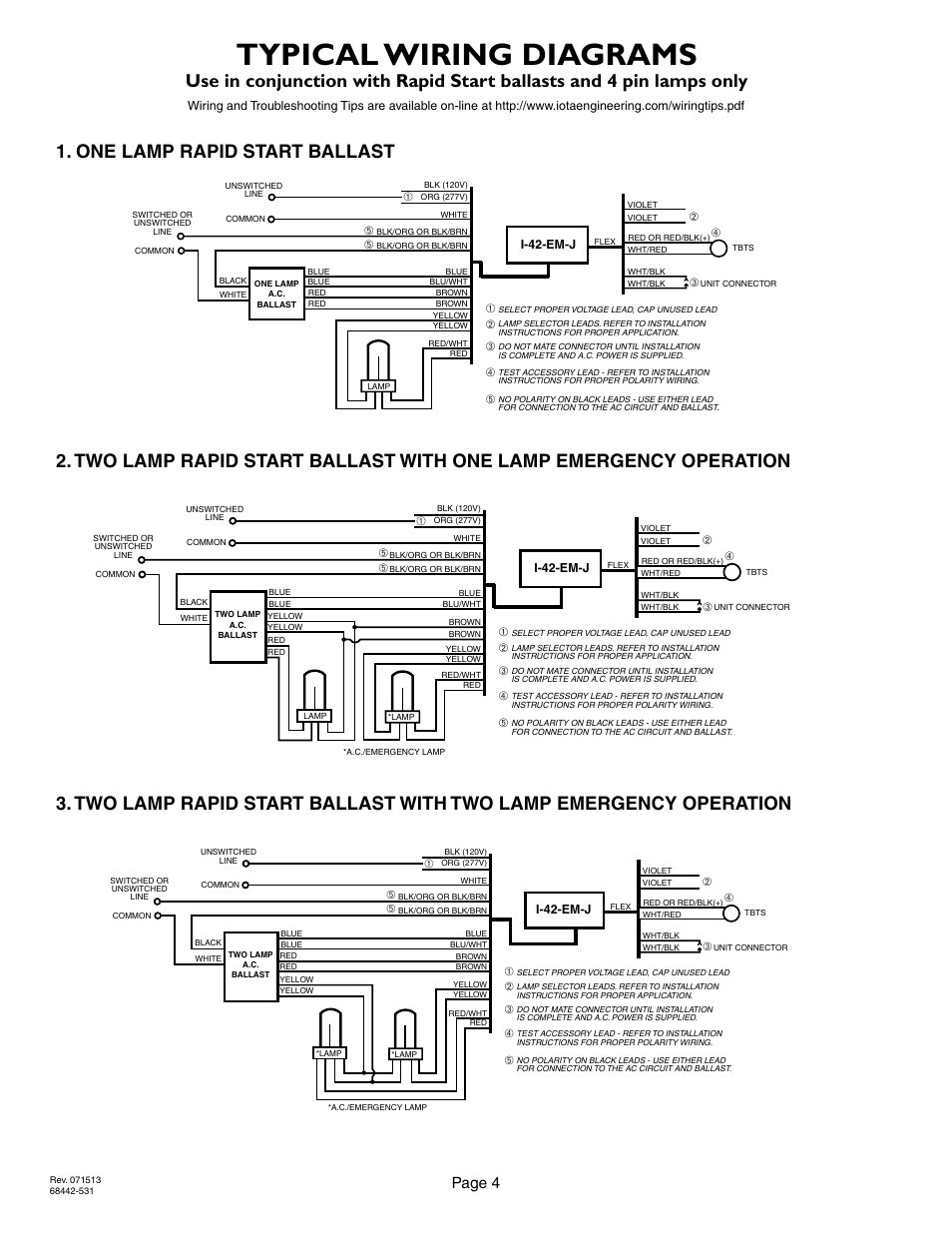 hight resolution of typical wiring diagrams page 4 2lrsb42j ac two lamp rapid start ballast iota i 42 em j user manual page 4 4