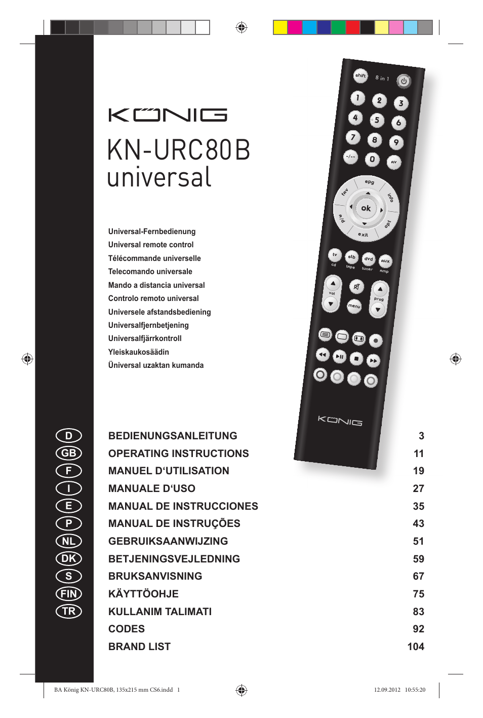 Konig Electronic 8:1 universal remote control User Manual