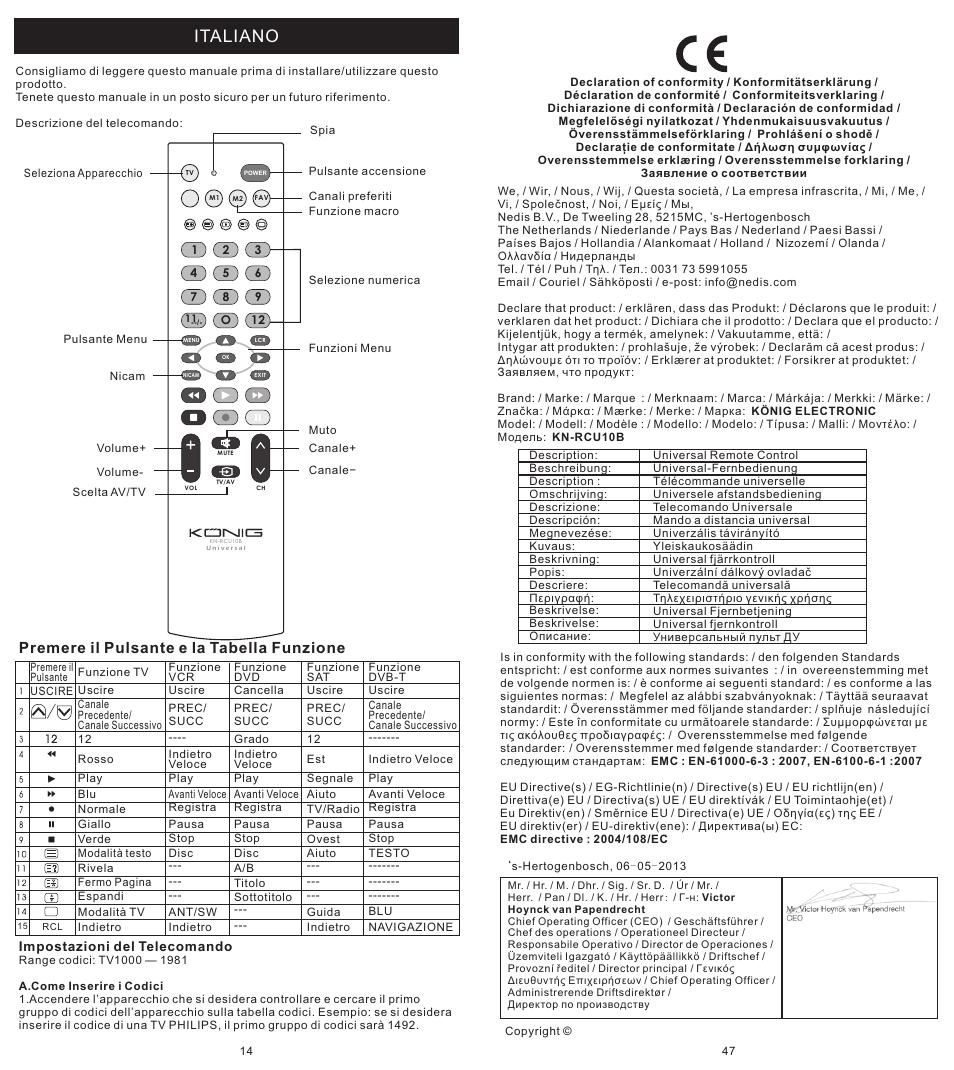 页 14, Italiano, Premere il pulsante e la tabella funzione