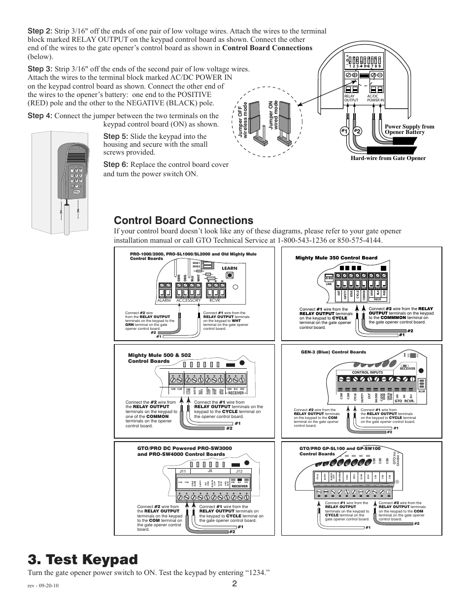 hight resolution of test keypad control board connections status program calling granted mighty mule fm136 user manual page 4 8
