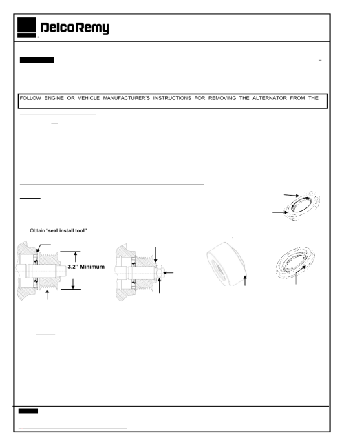 small resolution of remy replacing 50dn alternator shaft seal and o ring user manual 2 pages