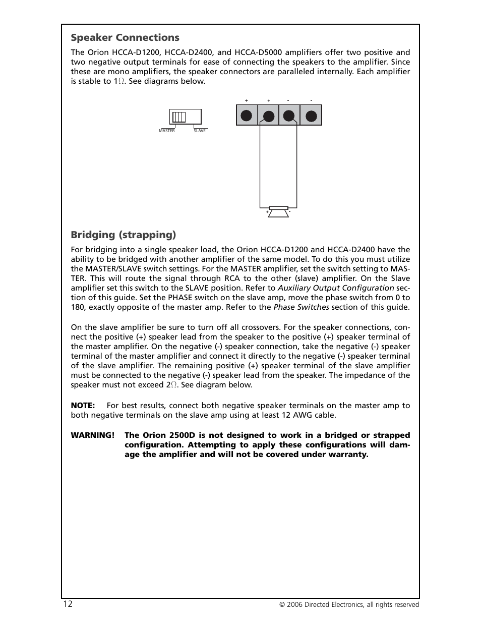 medium resolution of speaker connections bridging strapping directed electronics hcca d1200 user manual
