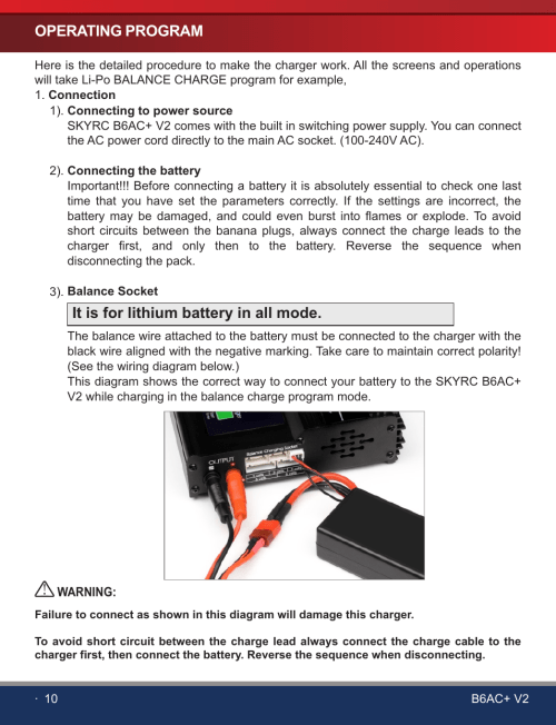 small resolution of  12 operating program it is for lithium battery in all mode skyrc b6ac v2 charger user manual page 12 28