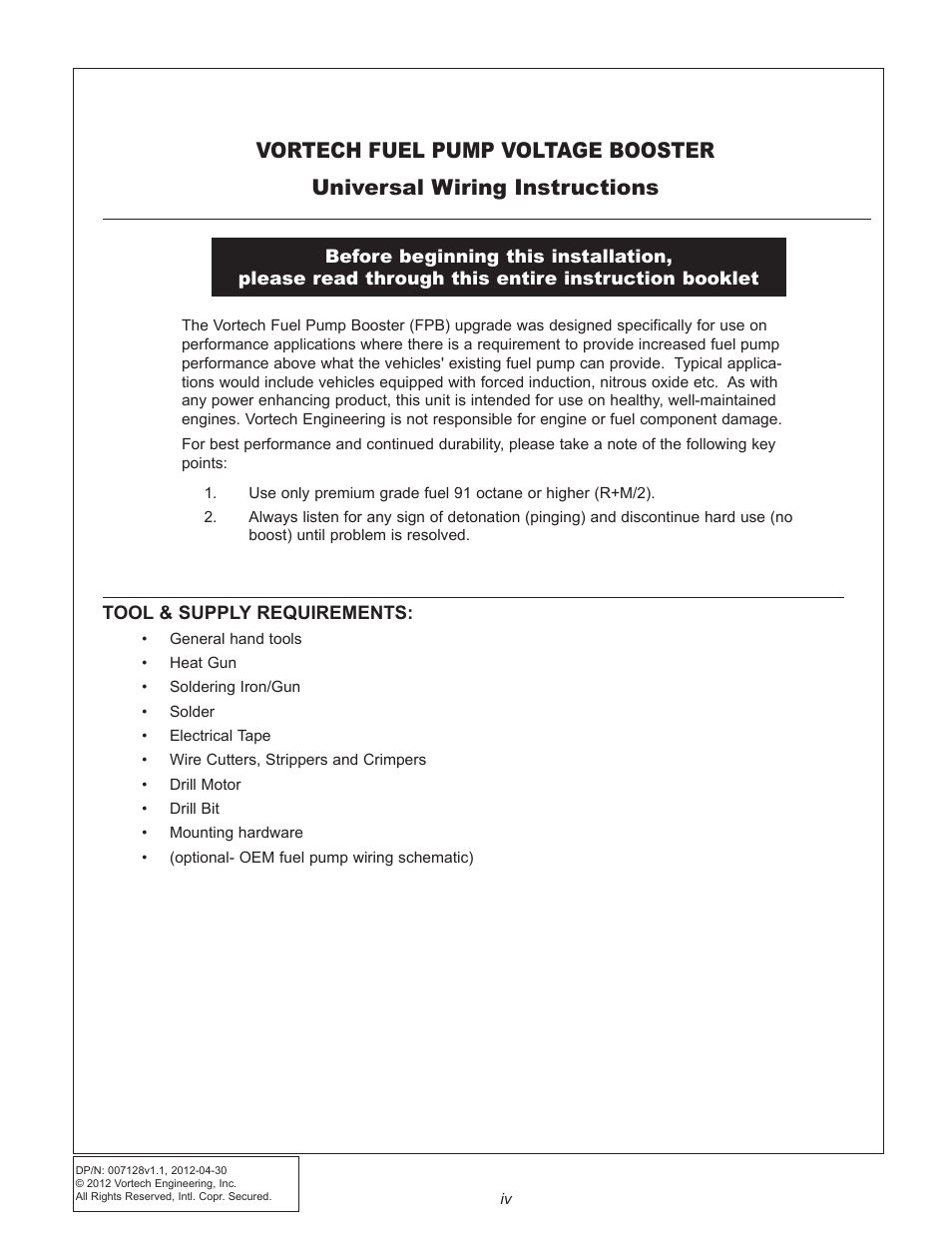 medium resolution of vortech maxflo fuel pump booster fpb universal fit user manual page 4 13