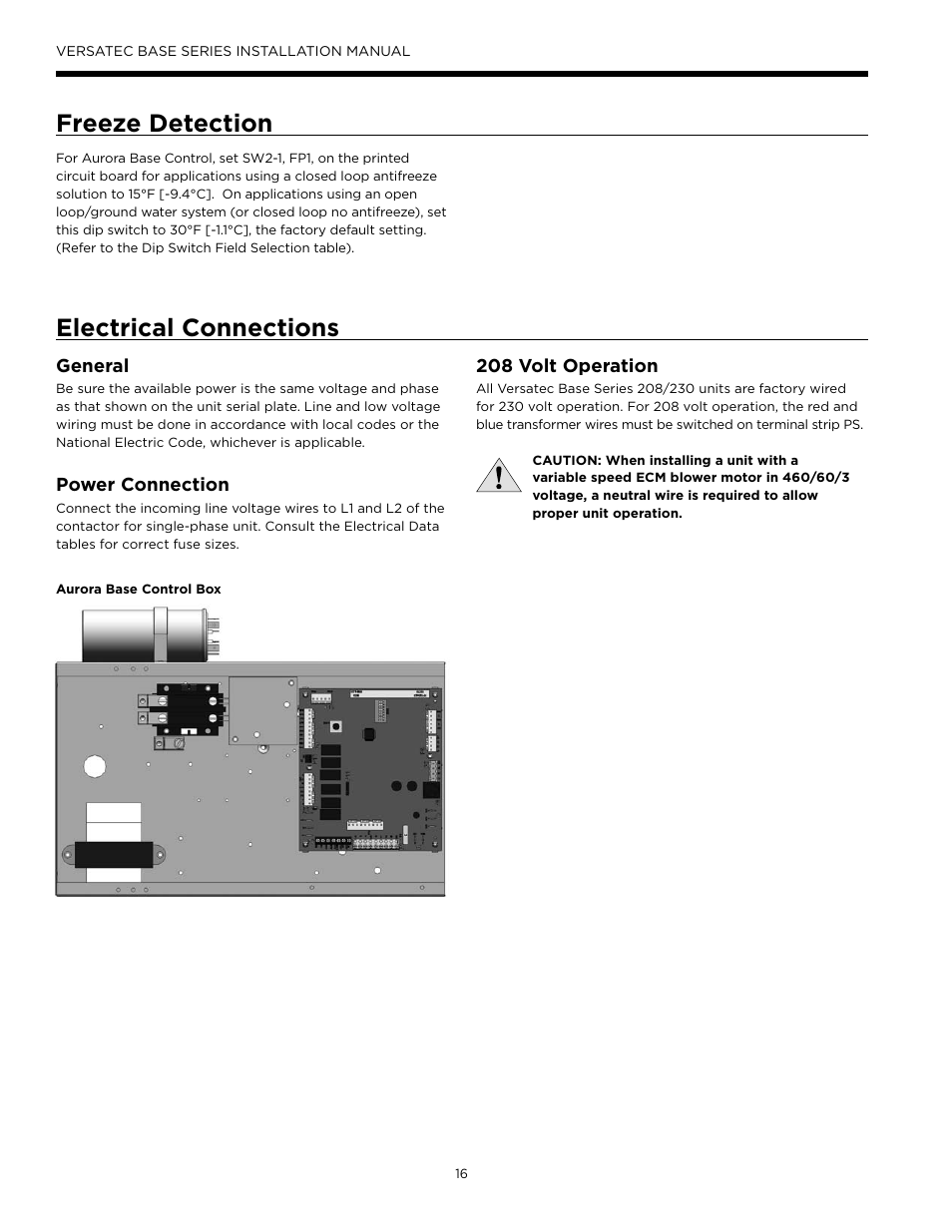 medium resolution of freeze detection electrical connections general waterfurnace versatec base user manual page 16 56
