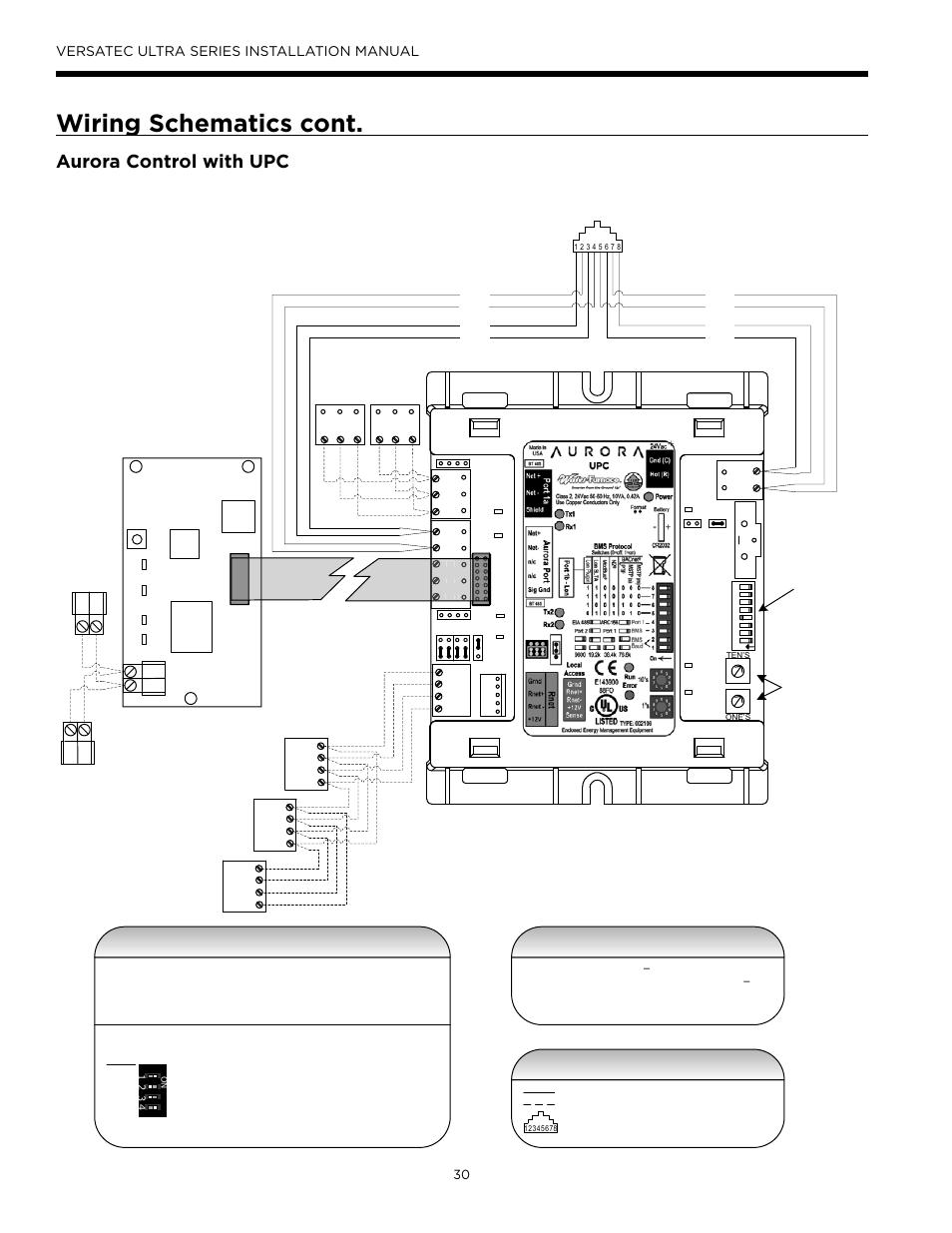 Wiring schematics cont, Aurora control with upc, Zs sensor