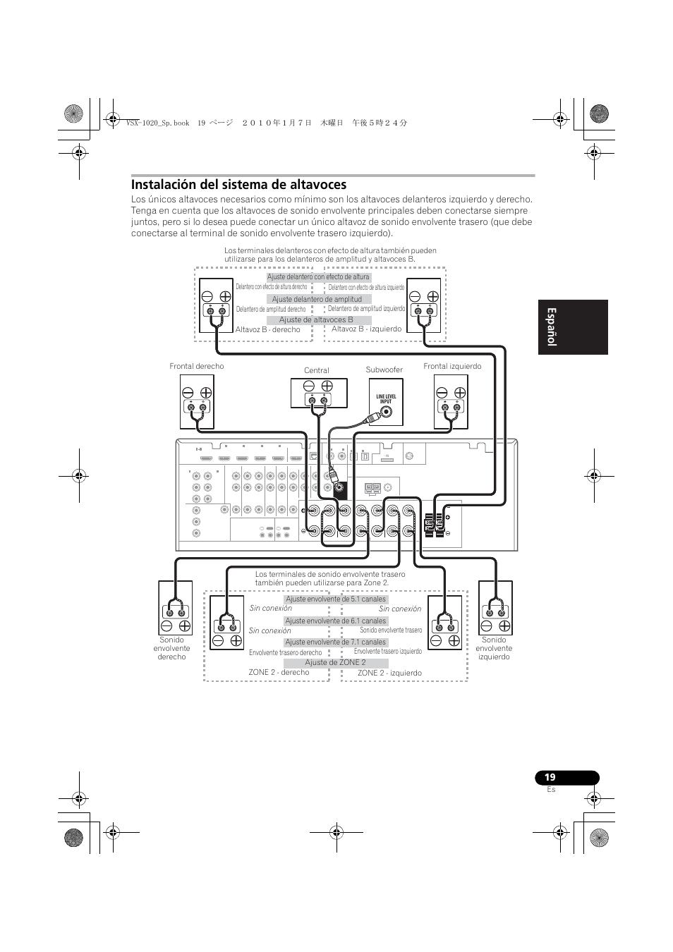 Instalación del sistema de altavoces, English español