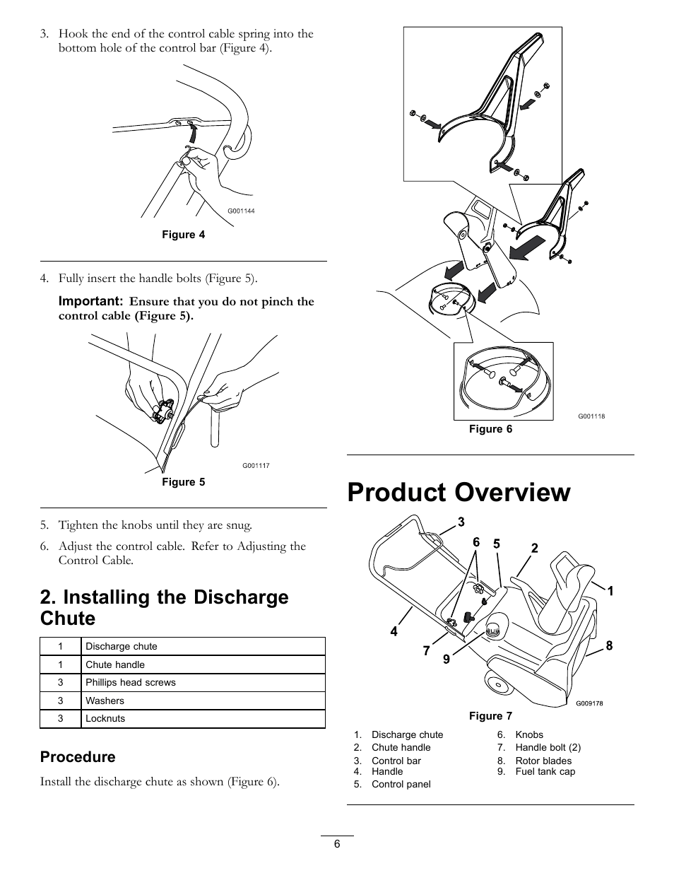 Product overview, Installing the discharge chute