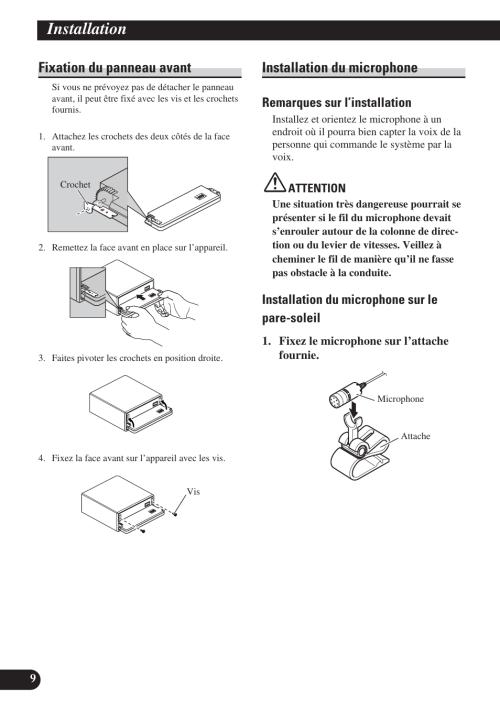 small resolution of installation fixation du panneau avant installation du microphone remarques sur l installation