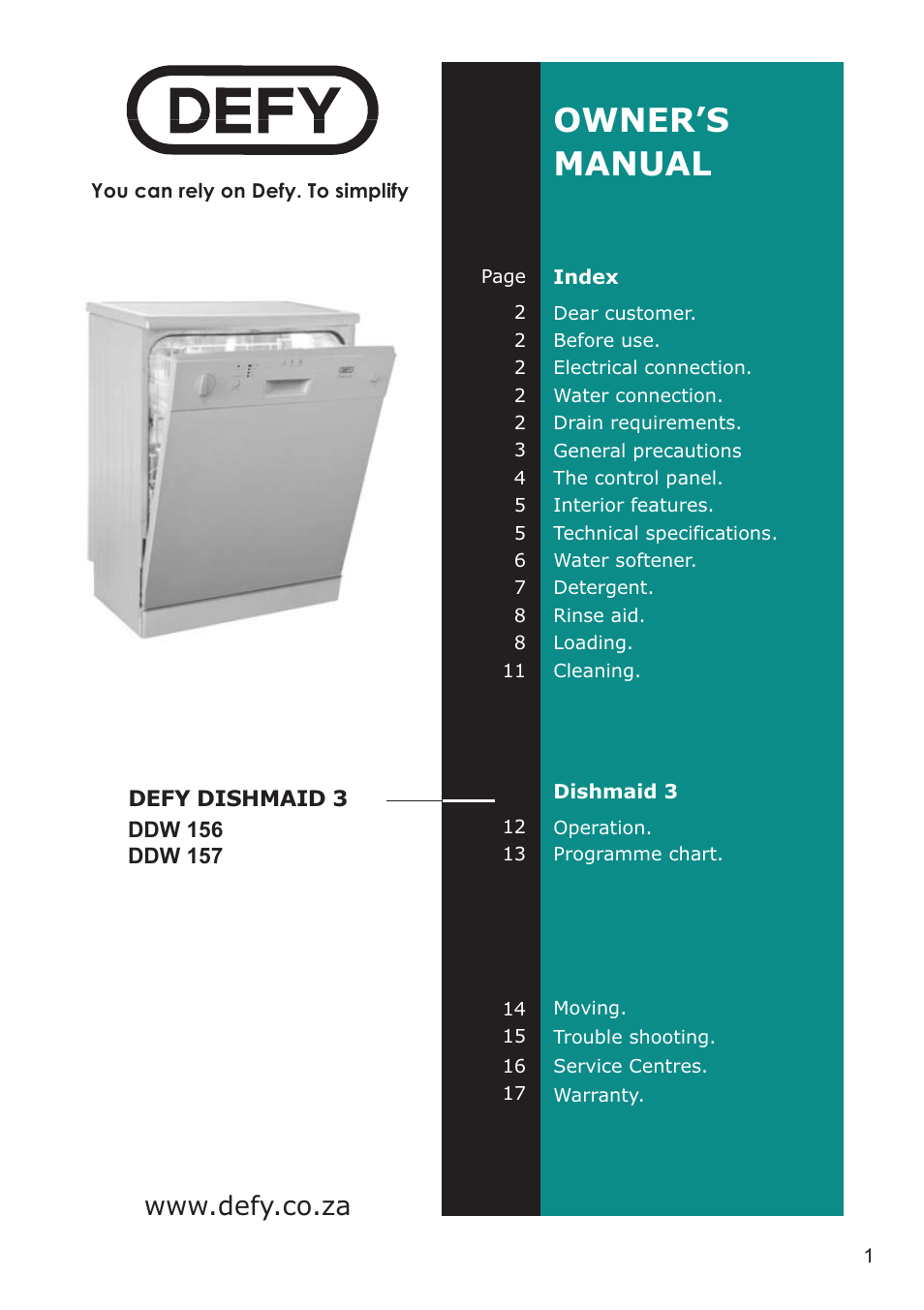Defy Appliances DDW 157 User Manual  18 pages  Also for DDW 156