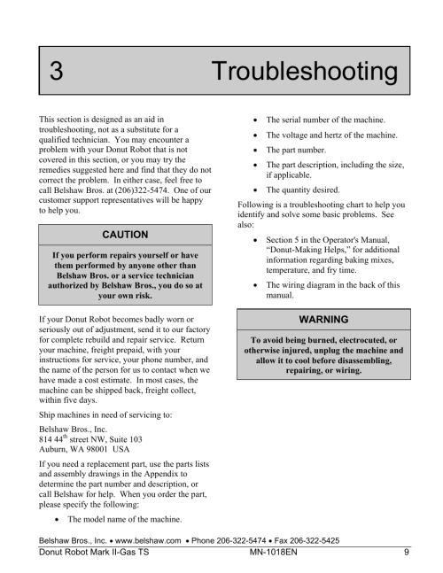 small resolution of 3 troubleshooting belshaw adamatic mark ii gas donut robot user manual page 49