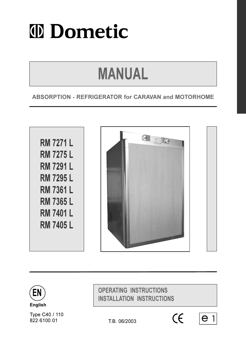 Dometic RM 7401 L User Manual  30 pages  Also for RM 7405 L RM 7291 L RM 7365 L RM 7295 L
