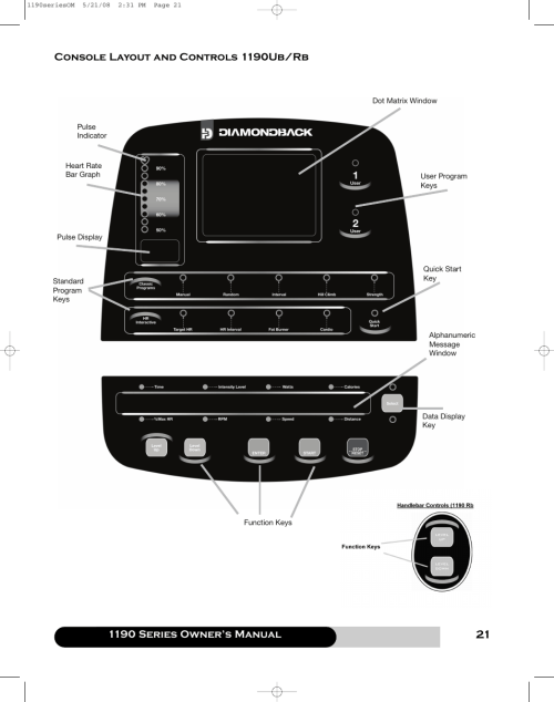 small resolution of 1190 series owner s manual console layout and controls 1190ub rb diamondback 1190 er user manual