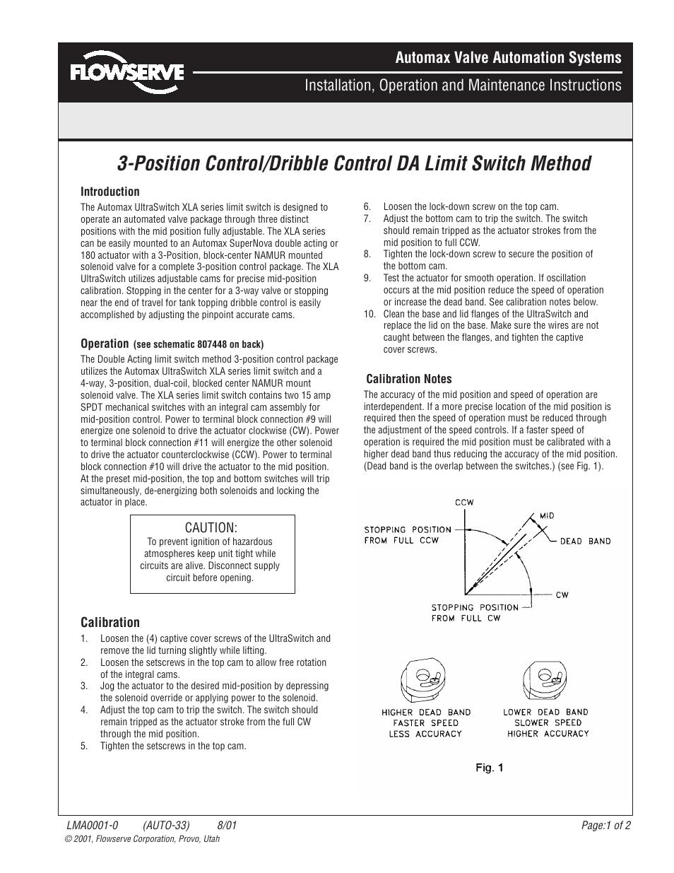 Flowserve DA Limit Switch Method 3-Position Control User