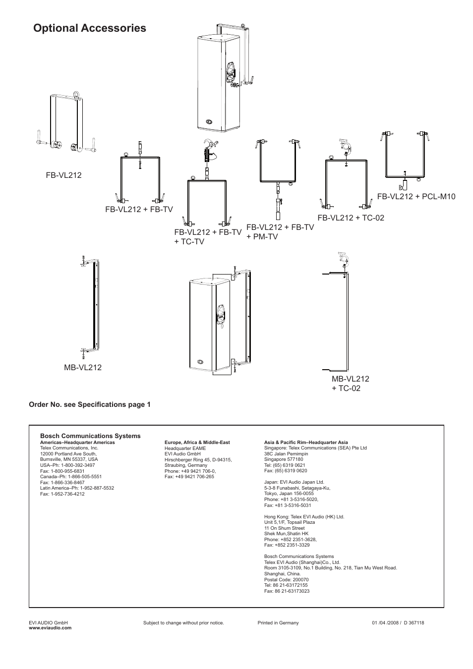 Optional accessories, Order no. see specifications page 1