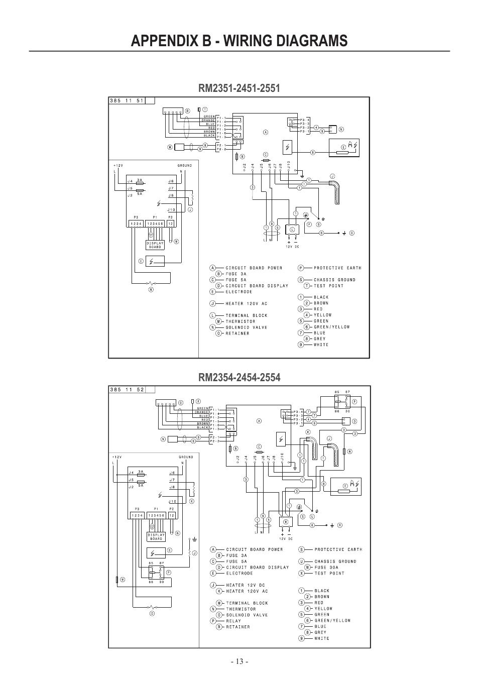 dometic rm2852 wiring diagram 2004 hyundai santa fe car stereo radio appendix b diagrams user manual page 13 16