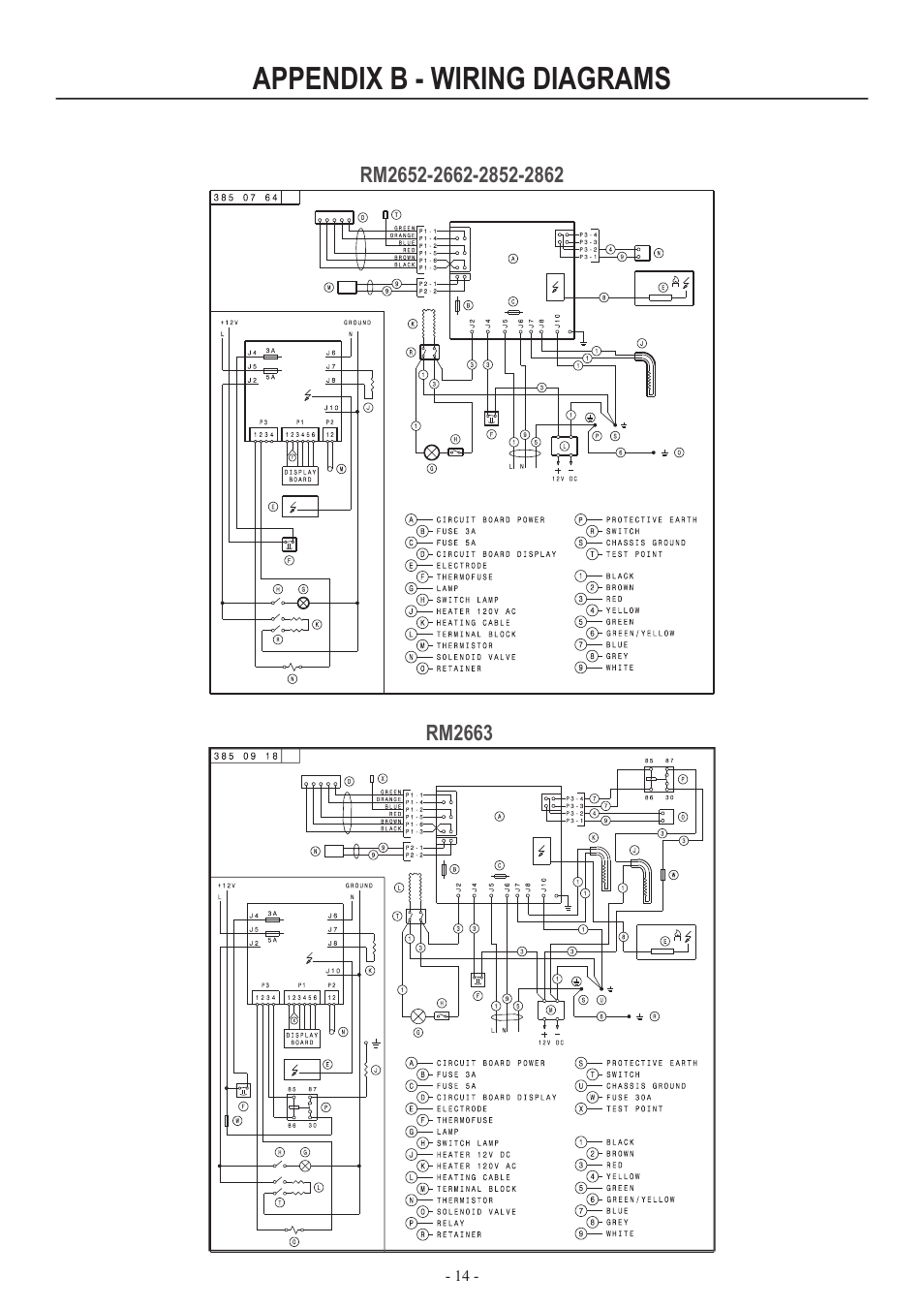 wiring diagrams for kenmore refrigerators star delta control diagram with timer appendix b - | dometic rm2852 user manual page 14 / 16