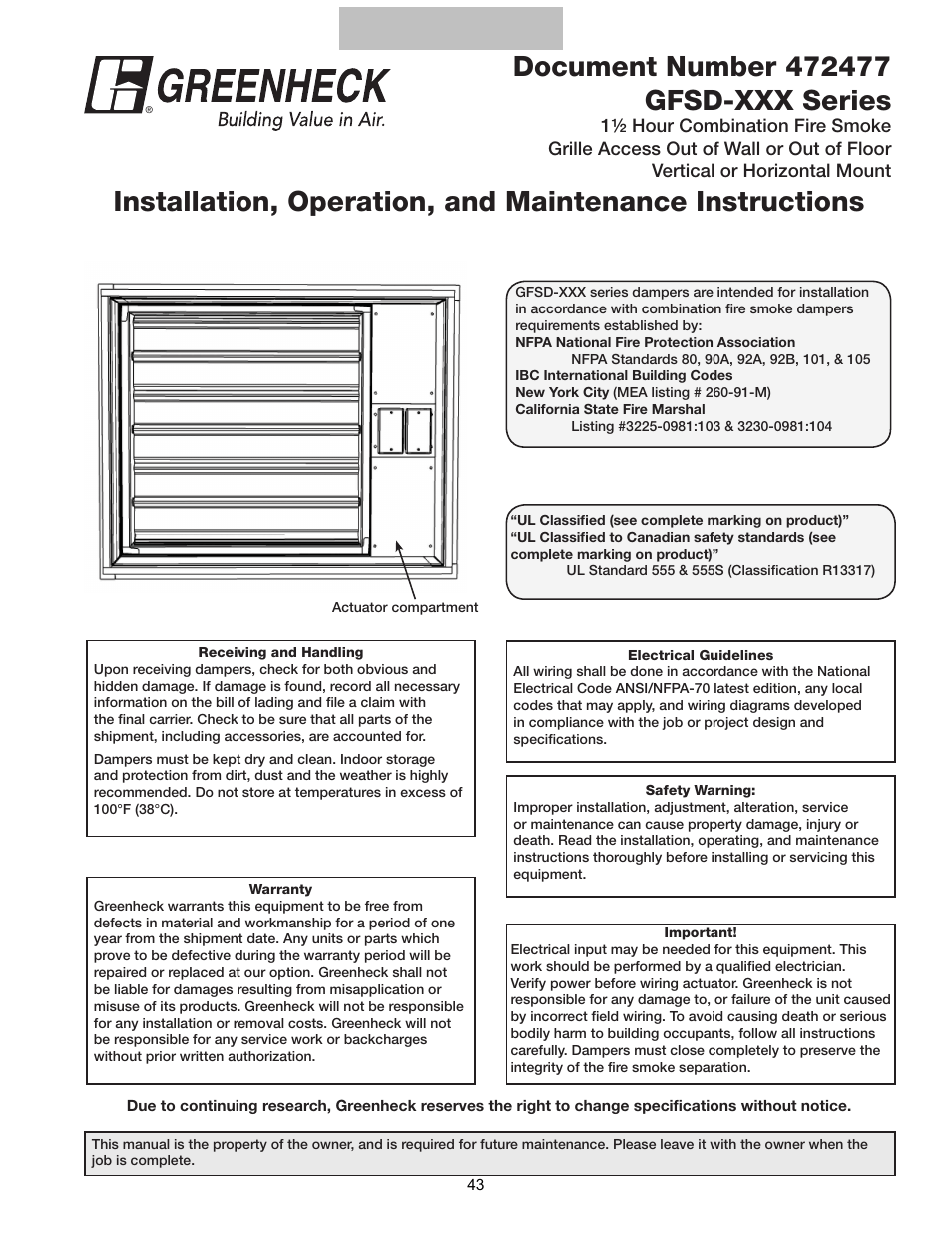 smoke damper wiring diagram 2008 ford f150 diagrams greenheck multi blade fire combination dampers installation booklet 826249 user manual page 43 52 also for dfdr 462721