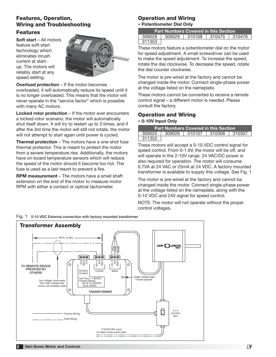 medium resolution of operation and wiring transformer assembly greenheck vari green motor iom 473681