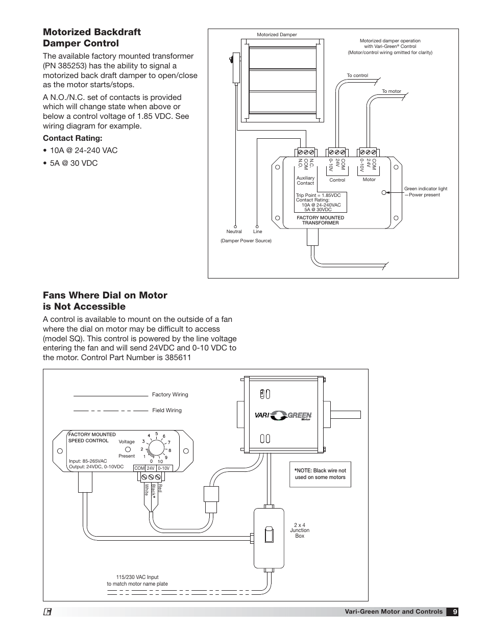 medium resolution of motorized backdraft damper control fans where dial on motor is not accessible greenheck vari green motor iom 473681 user manual page 9 12