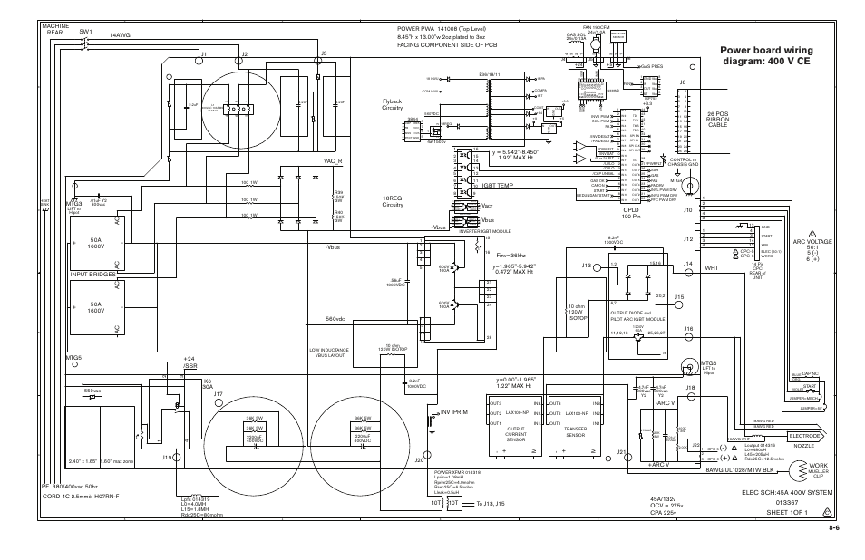 Power board wiring diagram: 400 v ce, Power board wiring