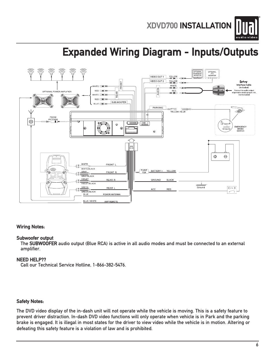 hight resolution of expanded wiring diagram inputs outputs xdvd700 installation dual xdvd700 user manual page 7 56