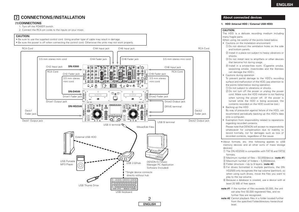 About connected devices, 2 connections/installation