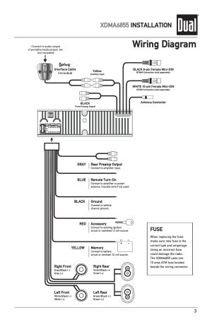 Wiring diagram, Xdma6855 installation, Fuse | Dual