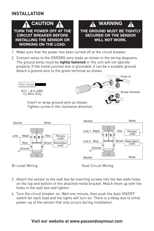 small resolution of installation caution warning legrand osr300s 120 277vac user manual page 5 8