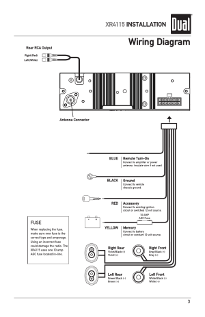 Wiring diagram, Xr4115 installation | Dual XR4115 User Manual | Page 3  16