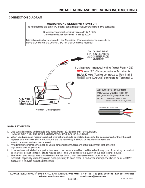 small resolution of installation and operating instructions connection diagram louroe electronics le 072 user manual page 3 4