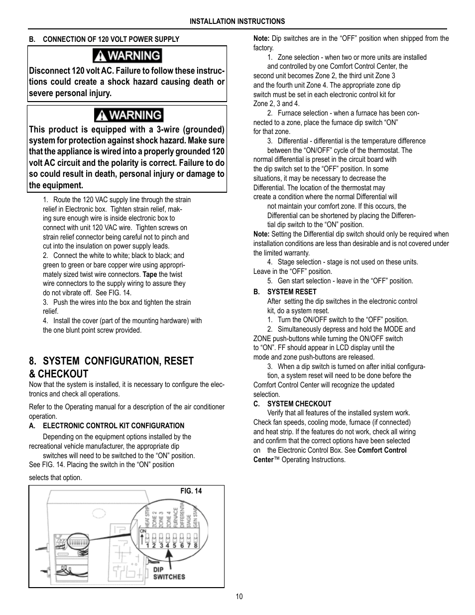 medium resolution of system configuration reset checkout dometic brisk air 590 series user manual page 10 12