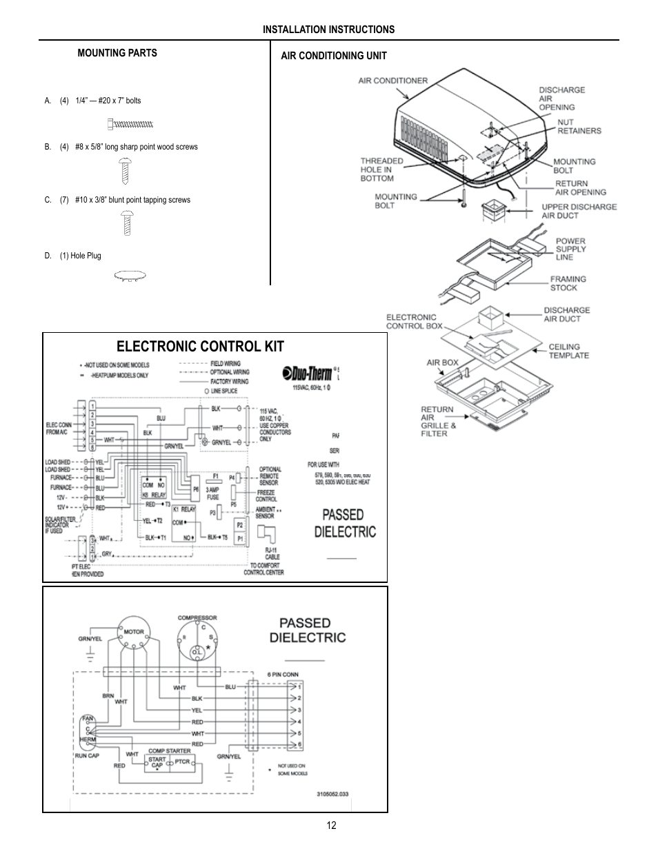 medium resolution of electronic control kit unit field wiring diagram dometic brisk air 590 series user manual page 12 12