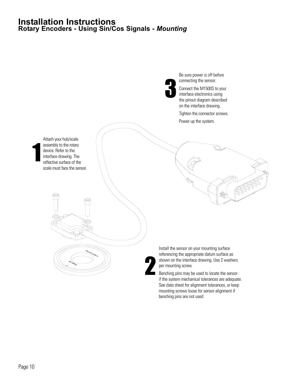 medium resolution of rotary encoder installation using sin cos signals microe 1500s mercury user manual page 12 19