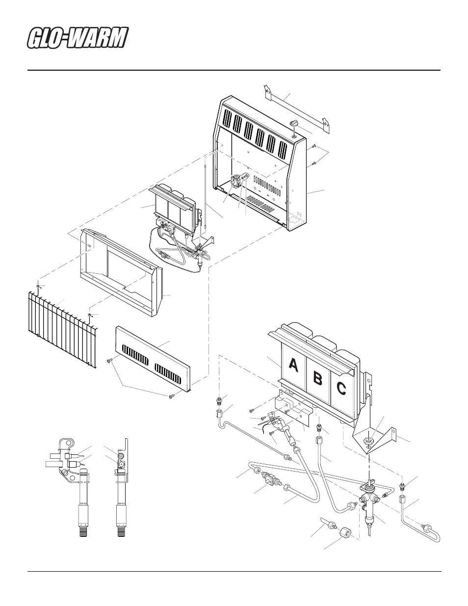 Infrared natural gas heater, Illustrated parts breakdown