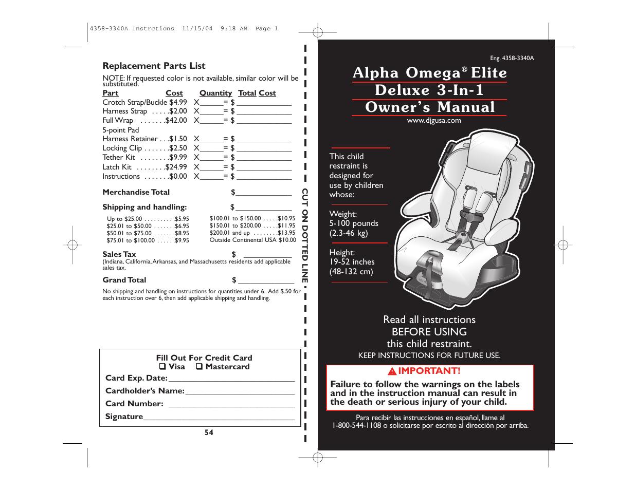 Alpha Omega Elite Owners Manual