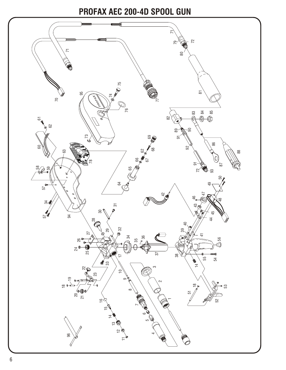 Replacement parts for profax aec 200-4d spool gun, Profax