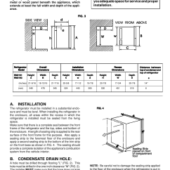 Dometic Rm2193 Wiring Diagram 1970 Vw Fastback Installing Refrigerator In Enclosure A Installation B Condensate Drain Hole