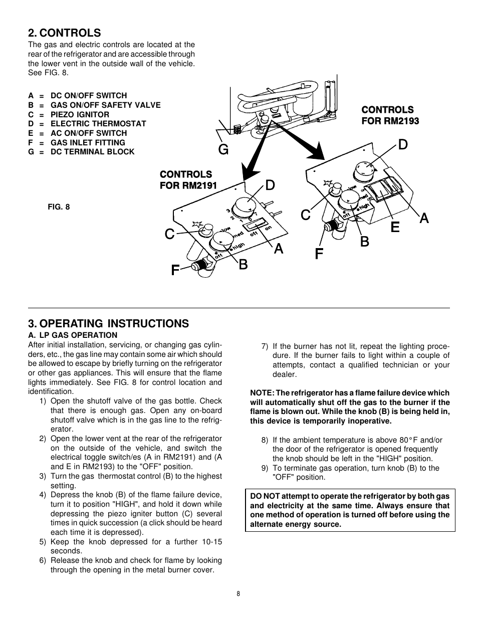 dometic rm2193 wiring diagram e36 fuse box controls operating instructions rm2191 user manual page 8 12