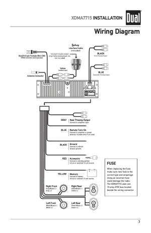 Wiring diagram, Xdma7715 installation, Fuse | Dual IPLUG