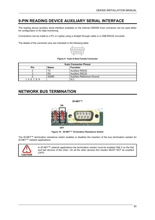 small resolution of pin reading device auxiliary serial interface network bus termination datalogic scanning cbx500 user manual page 11 15